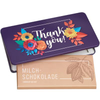 "Milk chocolate from Munz in gift tin ""Thank you"""