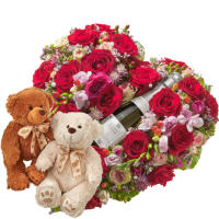 Touched Deeply, with Prosecco Albino Armani DOC (20cl) and two teddy bears (white & brown)
