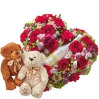 Mitten ins Herz mit WHITE Secco Piccolo (20cl) und Teddybärenpaar (weiss & braun)