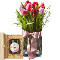 Tulip Princess (incl. Vase) with Swiss blossom honey