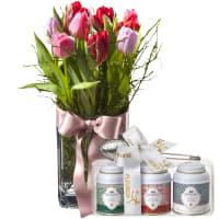 Principessa dei tulipani (vaso incl.) con set regalo di tè Gottlieber