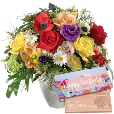 Cheerful Spring Bouquet With Bar Of Chocolate Happy Birthday