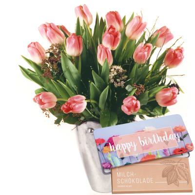 Tulips In Tender Pink Shades With Bar Of Chocolate Happy Birthday