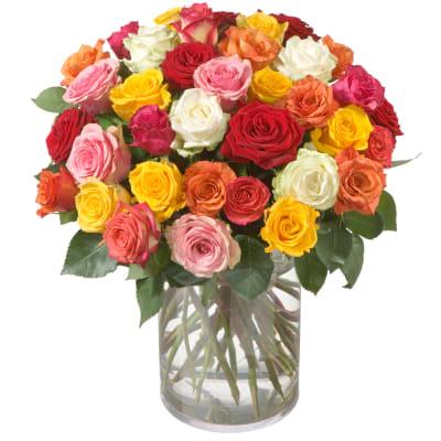 Bouquet De Roses Multicolores 36 Roses Commander Ici Livraison