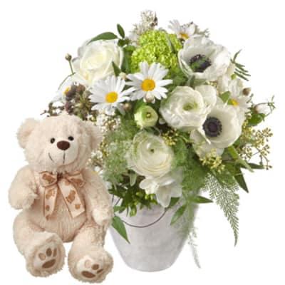 Frühlingsstrauß romantischer frühlingsstrauß mit teddybär weiß hier