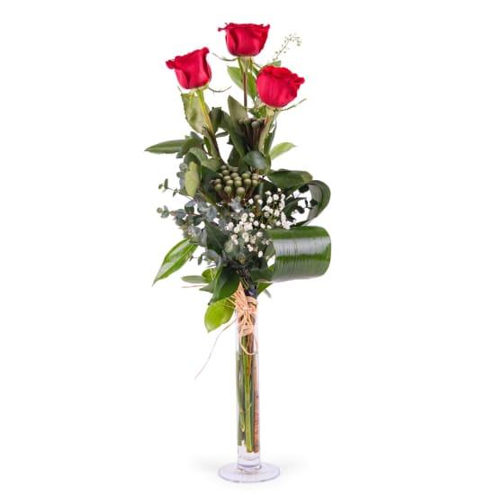 3 Long-stemmed Red Roses