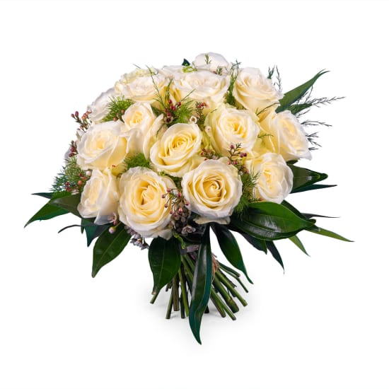 20 Short-stemmed White Roses