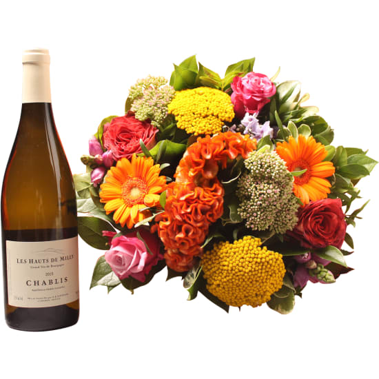 Colorful bouquet with Chablis