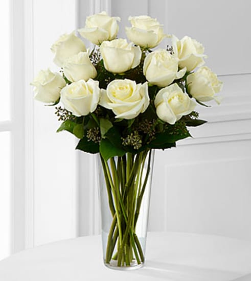 E8-4812 The White Rose Bouquet by FTD® - VASE INCLUDED
