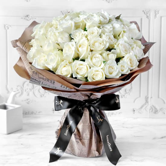 Unforgetabble 50 White Roses Hand Tied