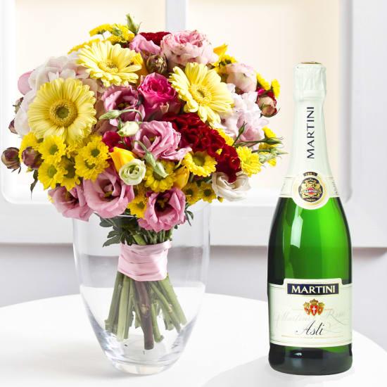 Prickelndes Blumentstrauss mit Champagner