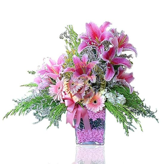 Arrangement of Cut Flowers in Rose