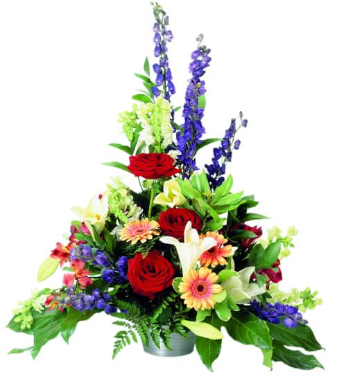 Gesteck aus gemischten Saisonblumen