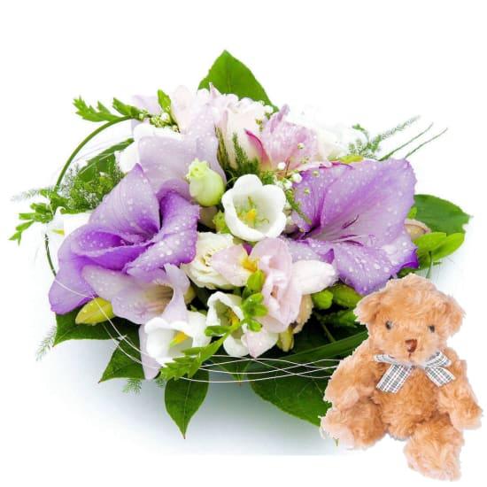 Cute Baby arrangement + Teddy Bear
