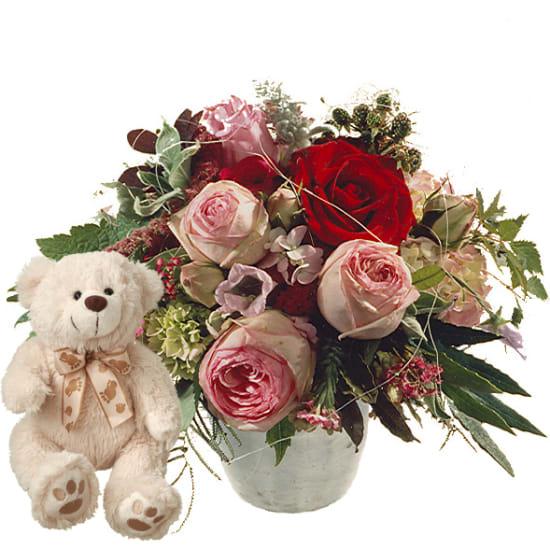 Poesie mit Rosen und Teddybär (weiss)