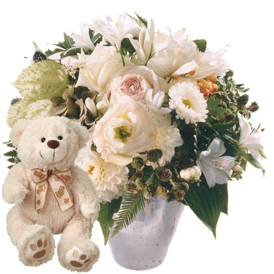 Blumenperle Bianca mit Teddybär (weiss)
