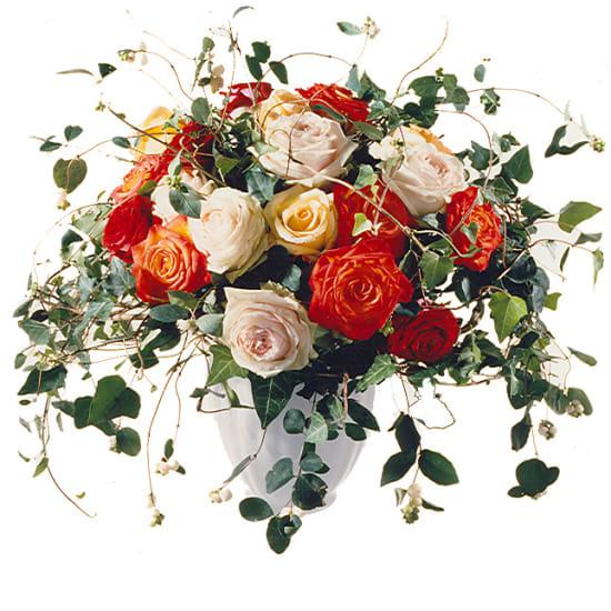 Bouquet de roses enjoué