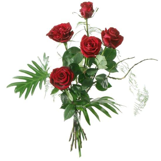 5 roses rouges avec verdure