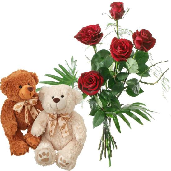 Per il mio tesoro, con coppia di orsetti in peluche (bianco & marrone)