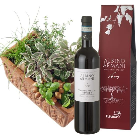 Kräuterkistchen (gepflanzt) mit Ripasso Albino Armani DOC (75cl)