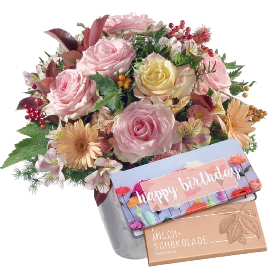 """Romantic Indian Summer with bar of chocolate """"Happy Birthday"""""""