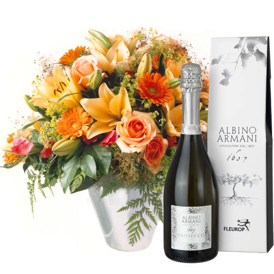 Gorgeous Bouquet of Flowers with Prosecco Albino Armani DOC (75cl)