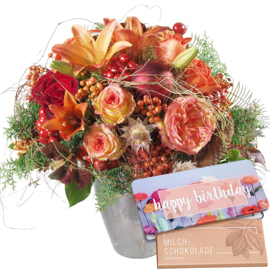 "Joy of Life with Delicate Flowers with bar of chocolate ""Happy Birthday"""