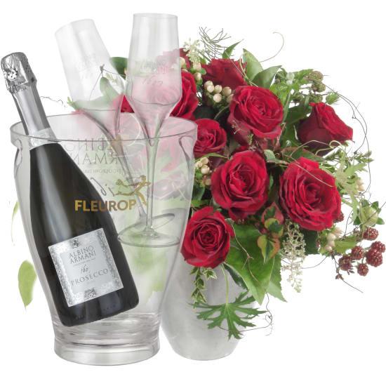 Bouquet I love you, mit Prosecco Albino Armani DOC (75 cl), inkl. Eiskühler und zwei Flûte-Gläser