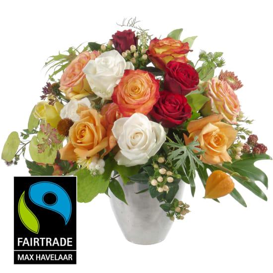 Mazzo di rose fiabesco con rose Fairtrade Max Havelaar a fiore grande