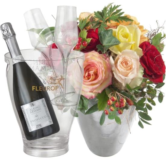 Incantesimo di rose con Prosecco Albino Armani DOC (75 cl) incl. portaghiaccio e due flûte