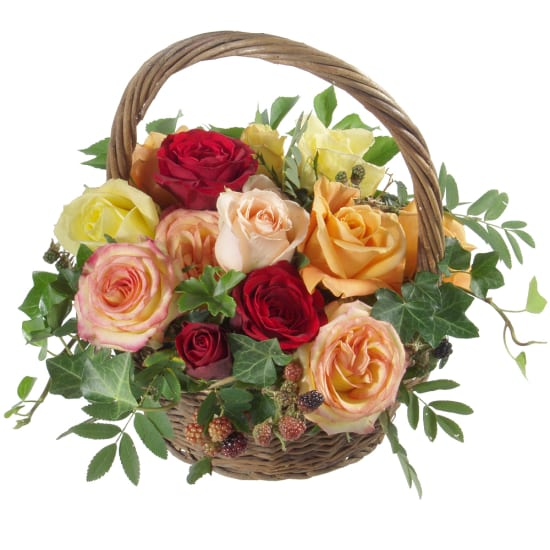 Korb voll Rosen