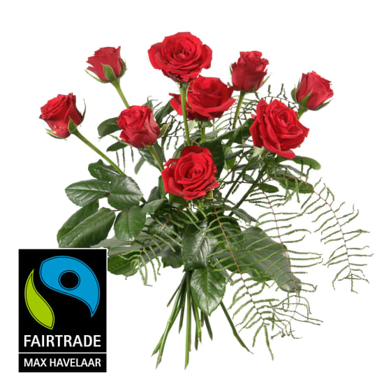 9 roses rouges Fairtrade Max Havelaar, tiges courtes avec  verdure