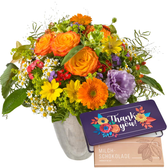 """Mixed Bouquet with bar of chocolate """"Thank you"""""""