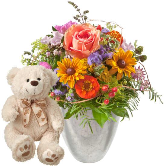 Kleiner Blumenbote mit Teddybär (weiss)