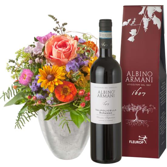 Kleiner Blumenbote mit Ripasso Albino Armani DOC (75cl)