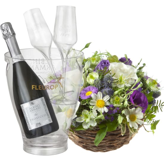 Beautiful Summer Basket, with Prosecco Albino Armani DOC (75 cl), incl. ice bucket and two sparkling wine flutes