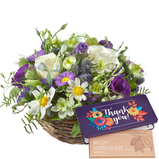 """Beautiful Summer Basket with bar of chocolate """"Thank you"""""""