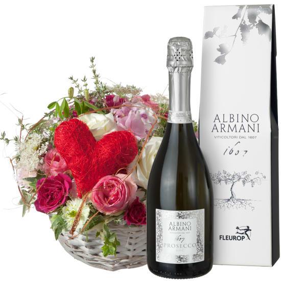 Un panier rempli d'amour, avec prosecco Albino Armani DOC (75cl)