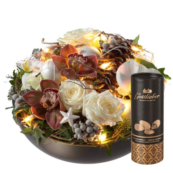 Magie de Noël (avec guirlande lumineuse) avec amandes au cacao Gottlieber