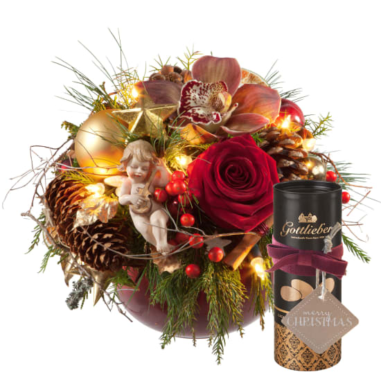 Christmas Story with LED, Gottlieber cocoa almonds and hanging gift tag «Merry Christmas»