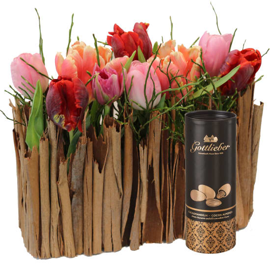 Stylish Miniature Tulip Garden with Gottlieber cocoa almonds