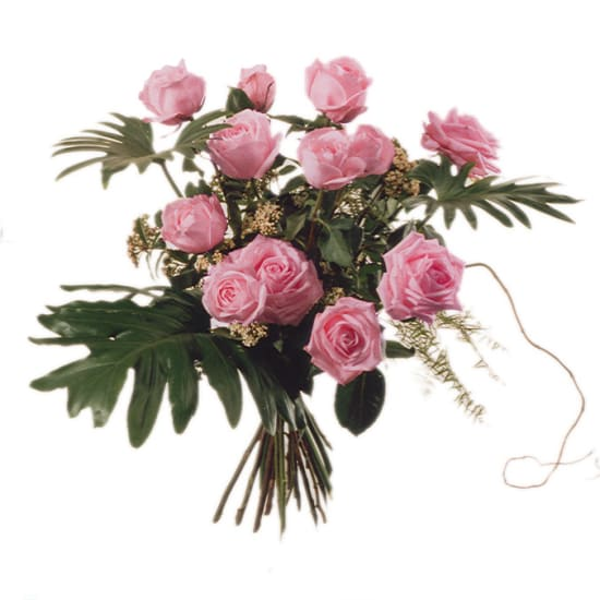 12 Pink Roses with greenery