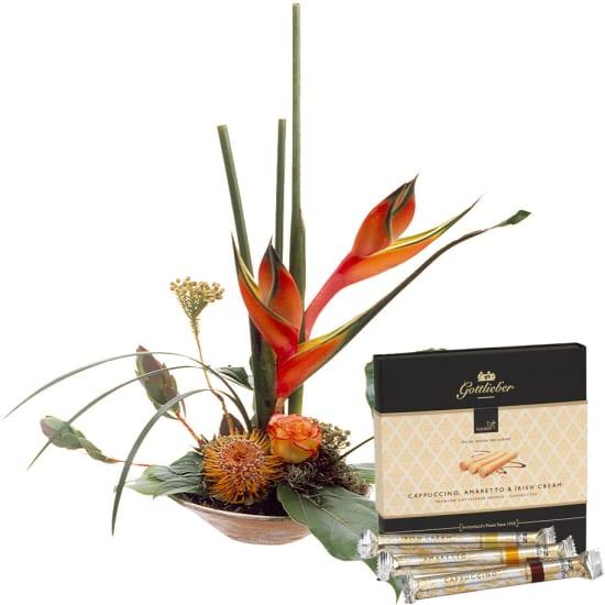 Un arrangement exclusif avec gaufrettes Gottlieber Hüppen «Special Edition for Fleurop»