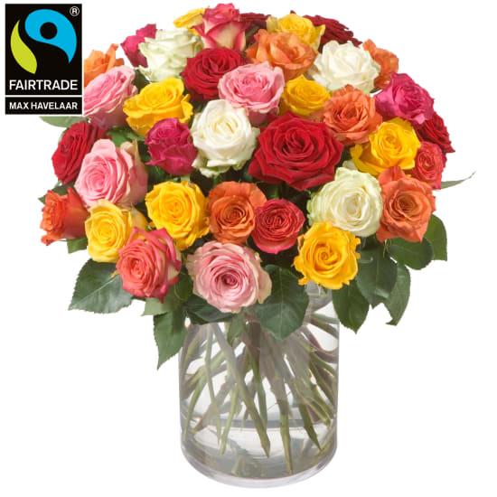 Mazzo di rose (36 rose) con rose Fairtrade Max Havelaar a fiore grande