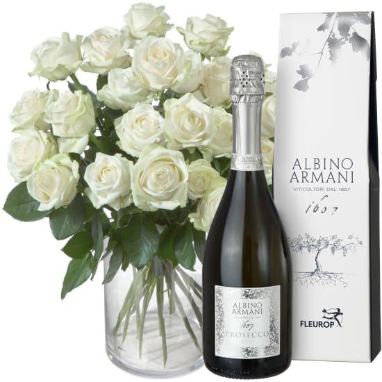24 rose bianche con Prosecco Albino Armani DOC (75cl)