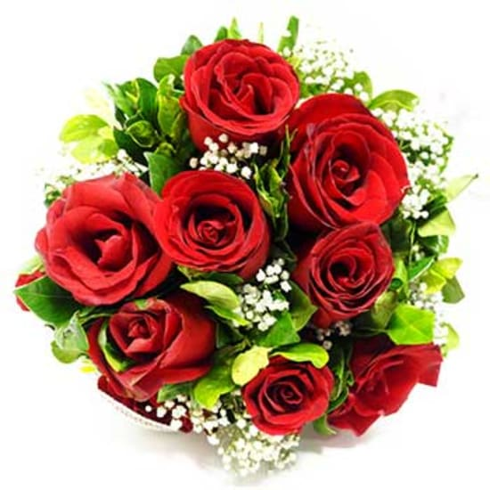 12 red roses with filler