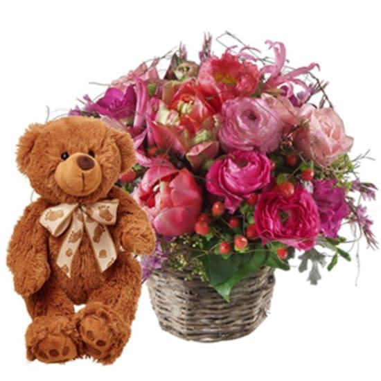 Heartbeat with teddy bear (brown)