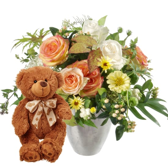 Delicate Seasonal Bouquet with teddy bear (brown)