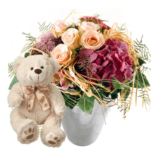 Romantic summer bouquet with teddy bear (white)