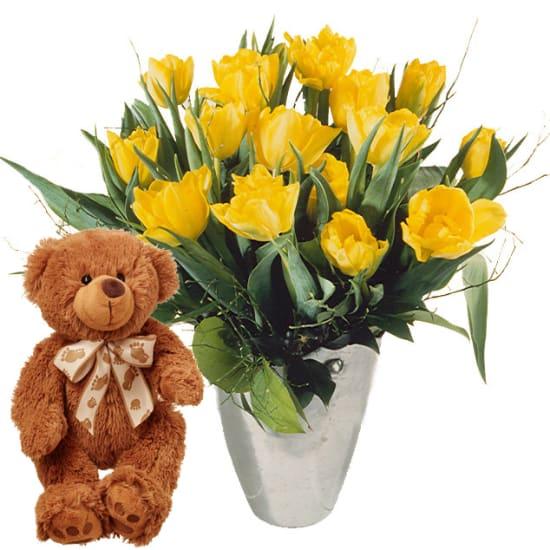 Tulpenstrauß in Gelb mit Teddybär (braun)